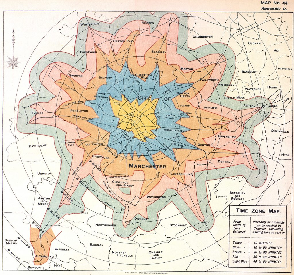 Time zone map for Manchester, 1914