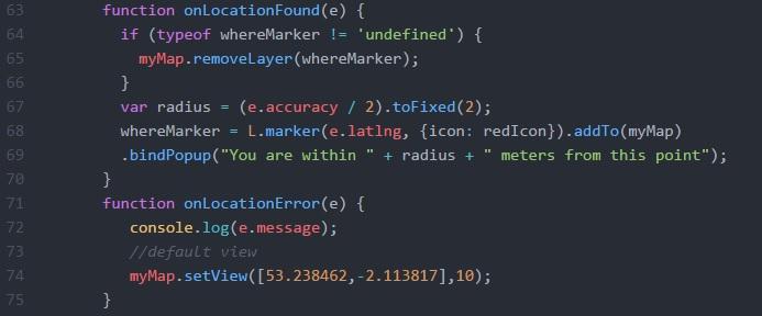 Location events JavaScript