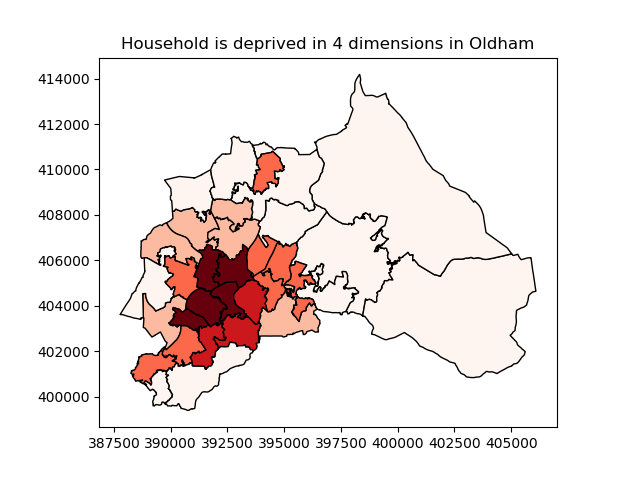 Household is deprived in 4 dimensions in Oldham